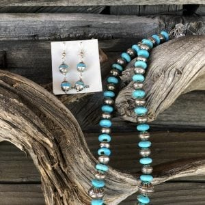 Kingman Turquoise graduated sterling silver Aztec Bead strand with earrings