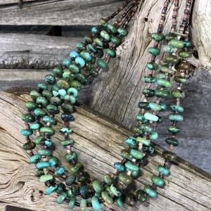 Four strand Fine China Mountain Turquoise and Shell Heishi Bead Necklace