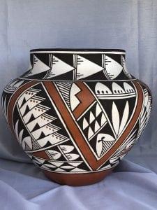 Acoma Pueblo Pottery Olla by M Leno