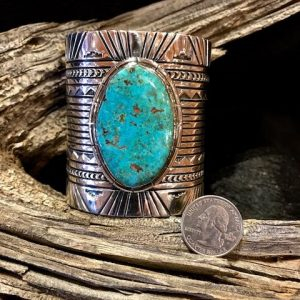 Large 3 inch cuff! Beautiful silver work with gorgeous Cripple Creek Turquoise stone