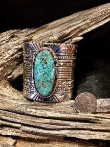Two and half (2 1/2) inch heavy silver cuff with Cripple creek turquoise