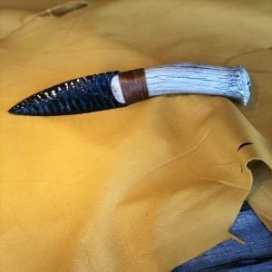 Nice Medium size Obsidian and deer antler knife By Dale Duby Overall length 9