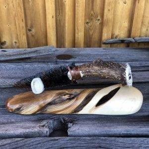 Large Obsidian knife with deer antler handle on Juniper base