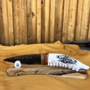 Amazing Obsidian knife with Elk jaw handle on juniper and antler base By Dale Duby