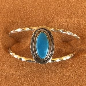 Navajo Billie Burell made Bkue Kingman Turquoise and Sterling Silver cuff bracelet