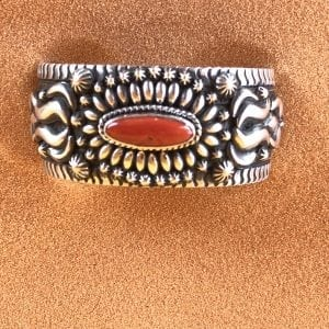 Amazing Daryl Bacenti Corel and Sterling Silver cuff bracelet