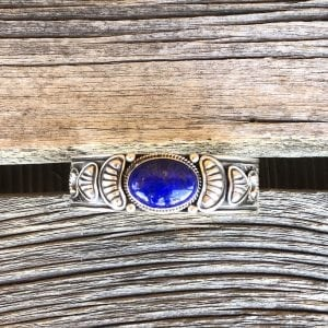 Hand Tooled Tommy White Sterling Silver cuff bracelet with beautiful Lapis