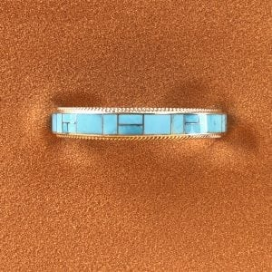 Beautiful Sleeping Beauty Turquoise inlay bracelet signed RB from the Zuni Pueblo