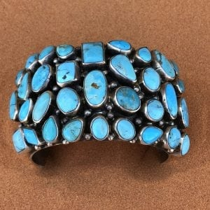 Cluster of Kingman Turquoise Sterling Silver cuff bracelet by T. Benally