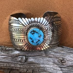 Beautiful Sleeping Beauty Turquoise set in a Sterling Silver cuff bracelet by Navajo artist Carson B