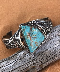 Sierra Turquoise set in an intricate Sterling Silver Navajo cuff bracelet