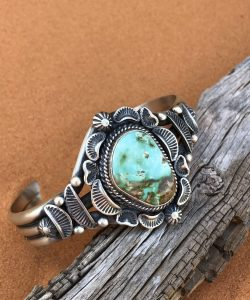Royston Turquoise set in a beautiful Navajo Sterling Silver cuff bracelet