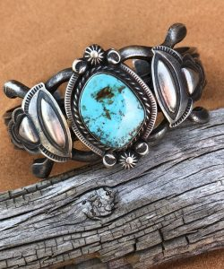 Sierra Turquoise set in a detailed Sterling Silver cuff bracelet