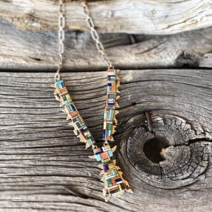 Multi-colored inlay necklace, stained glass style, hand tooled chain Artist: Renowned Navajo Jeweler and Inlay artist Melvin Cleveland
