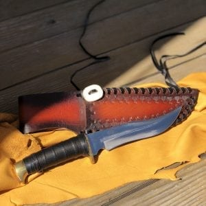 Handmade knife and sheath Made from circular saw blade and has leather wrapped handle By Ojibway Native American Mookooman Inini 11 1/2