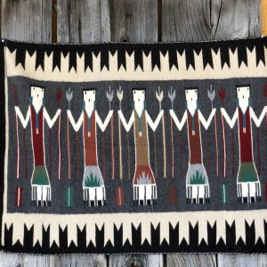 "Genuine Navajo Rug Weaver: Mae K. Brown Area: Yei Size: 41"" x 29"""