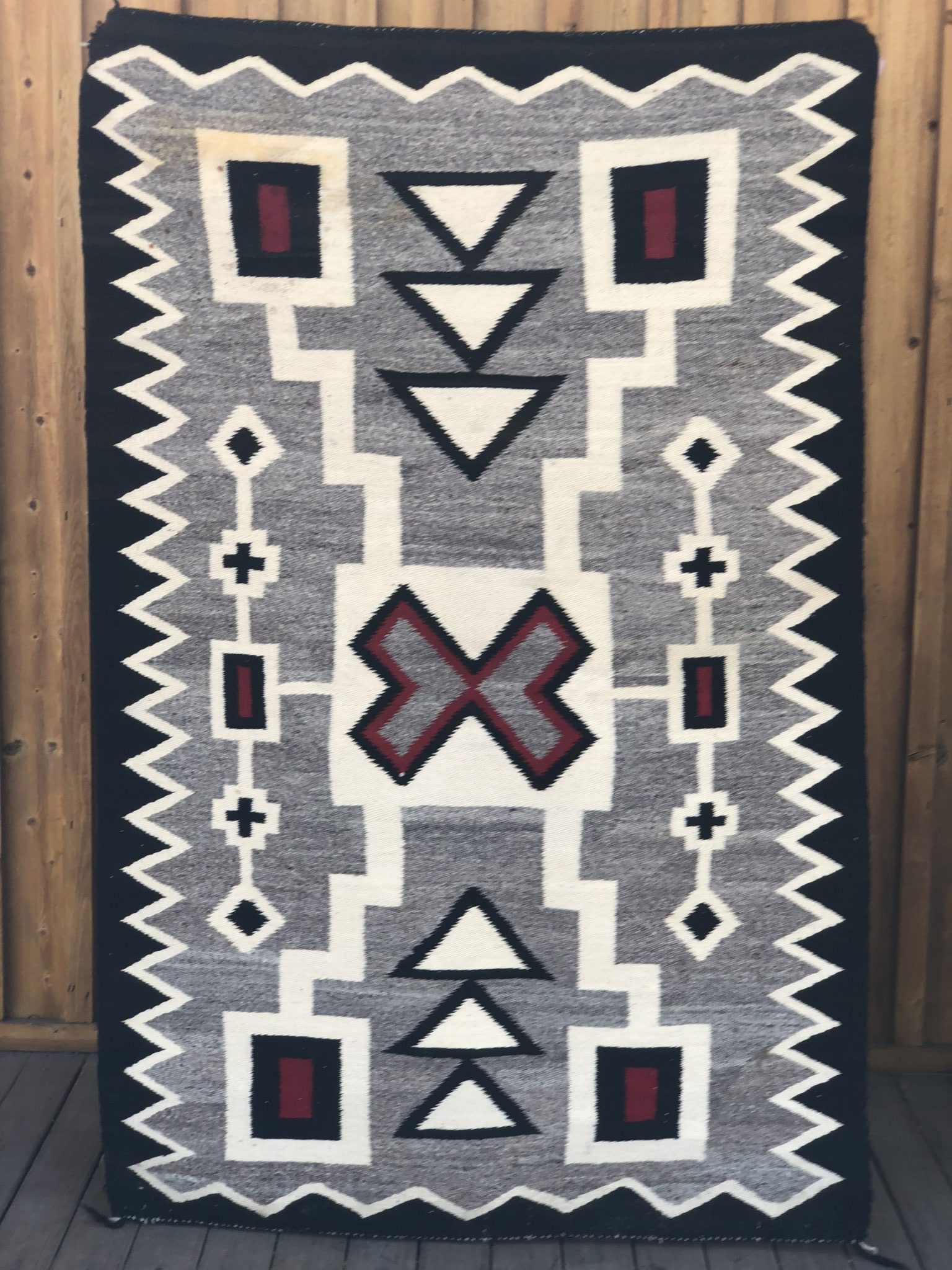 Genuine Navajo Rug Vintage 1940's - 1950's Excellent condition Area: Crystal- Storm Pattern Size: 37
