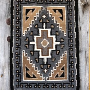 "Genuine Navajo Rug Weaver: Margaret Billy Area: Two Grey Hills Size: 27"" x 40"""