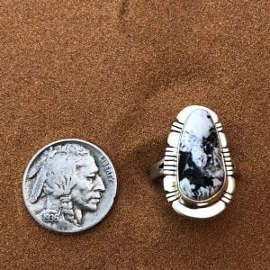 White Buffalo and Black Matrix set in a Sterling Silver ring Size 7