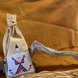 Native American Beaded Pouch with Fringe