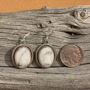 Beautiful White Buffalo Earrings set in Sterling Silver