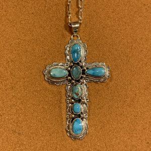 Kingman Turquoise Cross Necklace