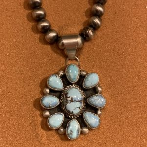 Golden Hill Turquoise and Satin Finish Sterling Silver Pendant with Beads