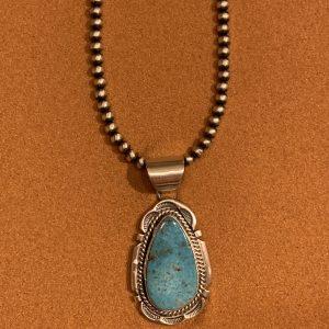C. Atencio Kingman Turquoise Pendant with Beads