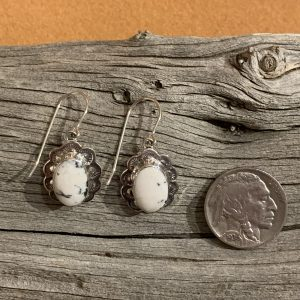 Beautiful White Buffalo Earrings set in Sterling Silver