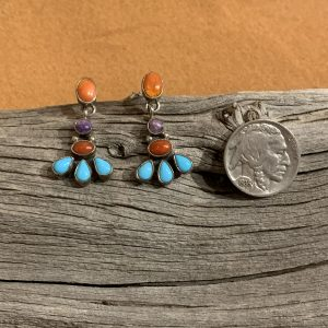 Multi-Colored Spiny Oyster, Charoite, Turquoise Earrings Set in Sterling Silver
