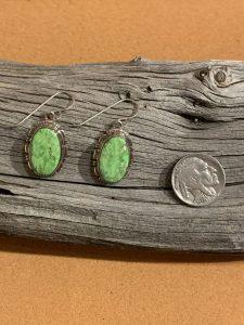 Gaspeite Earrings set in Sterling Silver