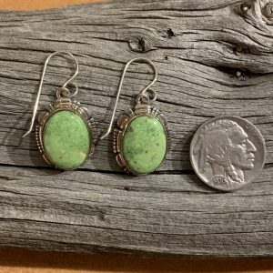 Gaspeite Earrings set in Sterling Silver