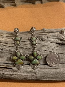 Stunning Green Turquoise Earrings set in Sterling Silver