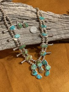 Emerald Valley Turquoise Squash Blossom and Earring Set