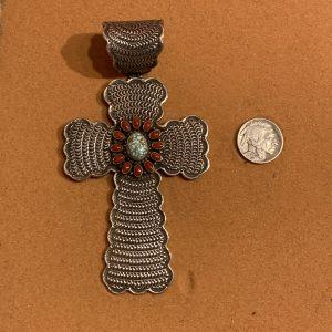Multi-Colored Stone Cross Pendant