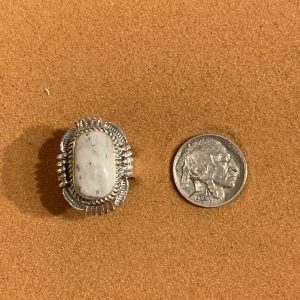 White Buffalo Ring set in Sterling Silver